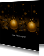 Kerstkaart 2020 goud kerstballen