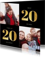 Kerstkaart 2020 goudlook met 2 foto's
