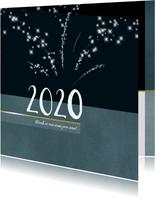 Kerstkaart 2020 met sterretjes vuurwerk