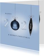 Kerstkaart 2021 blauw kerstballen
