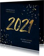 Kerstkaart 2021 jaartal goud spetters blauw