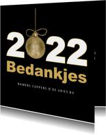 Kerstkaart 2022 bedankjes goud