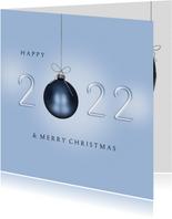 Kerstkaart 2022 blauw kerstballen