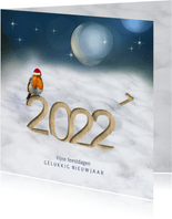 Kerstkaart 2022 houtprint in de sneeuw met roodborst