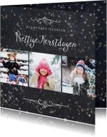 Kerstkaart 3 foto's met sterretjeseffect en krijtbord