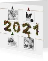 Kerstkaart 4x foto aan jute touw 2021