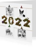 Kerstkaart 4x foto aan jute touw 2022
