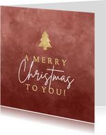 """Kerstkaart """"a merry Christmas to you!"""" met gouden kerstboom"""