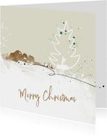 Kerstkaart abstract wit kerstboom