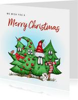 Kerstkaart allemaal kerstbomen samen egel en hondje
