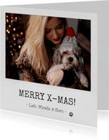 Kerstkaart als vierkante polaroid en aanpasbare tekst