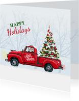 Kerstkaart Amerikaanse vrachtwagen