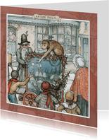 Kerstkaart - Anton Pieck illustratie draaiorgel in straat