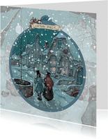 Kerstkaart - Anton Pieck koppel in sneeuw in de nacht