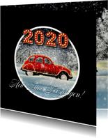 Kerstkaart auto in sneeuw 2020 RB
