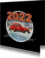 Kerstkaart auto in sneeuw 2022 RB