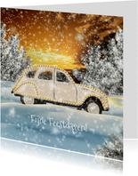 Kerstkaart auto in winters landschap A