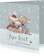 Kerstkaart beren in de sneeuw-baby's 1ste kerst