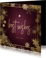 Kerstkaart best wishes bordeaux met goudlook kader