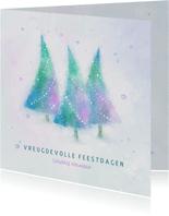 Kerstkaart blauw-groen-paars aquarel kerstbomen