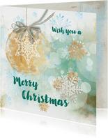 Kerstkaart blauw groen stempel watercolors