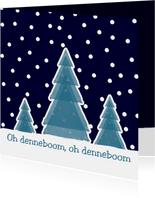 Kerstkaart Boompjes in sneeuw
