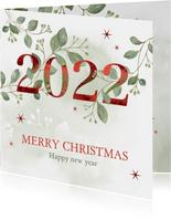 Kerstkaart botanisch met rood jaartal 2022