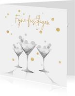 Kerstkaart bubbles in zwart-wit met goud