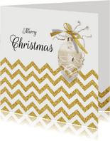 Kerstkaart chevron goud kerstbal met eigen foto binnenzijde