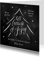 Kerstkaart Christelijk kerstboom Jezus krijtbord kalligrafie