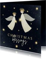Kerstkaart Christmas Blessings met 2 engelen en sterren