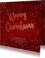 Kerstkaart Christmas rood en goud