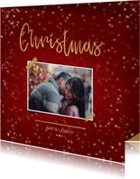 Kerstkaart Christmas rood met foto en goud
