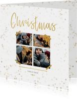 Kerstkaart Christmas wit en goud 4 foto's - Een gouden kerst