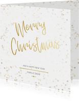 Kerstkaart Christmas wit en goud - Een gouden kerst