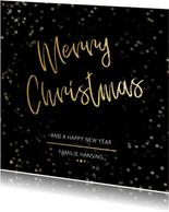 Kerstkaart Christmas zwart en goud - Een gouden kerst