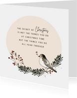 Kerstkaart cirkel vogel