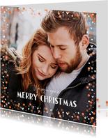 Kerstkaart confetti foto met hartjes en blaadjes