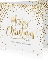 Originele kerstkaart confetti goud wit