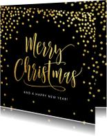Kerstkaart confetti goud zwart