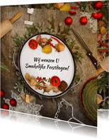 Kerstkaart culinair eten sfeer