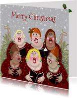 Kerstkaart dames samenzang