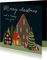Kerstkaart - de verlichte stad