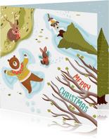 Kerstkaart dieren in de sneeuw illustratie
