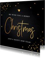 Kerstkaart donker goud typografie confetti