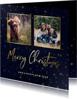 Kerstkaart donkerblauw goudlook met sterren en foto's