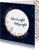 Kerstkaart donkerblauw krans met aanpasbare tekst