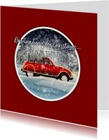 Kerstkaart driving home for christmas