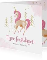 Kerstkaart eenhoorn unicorn waterverf goud roze