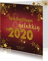 Kerstkaart feestelijke rode kaart goud sterren en tekst 2020
